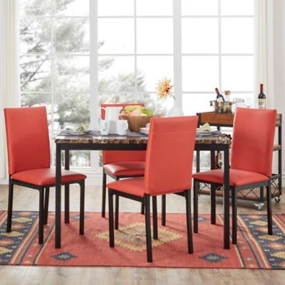 Verona Home Colby 5-Piece Faux Marble Dining Set in Red