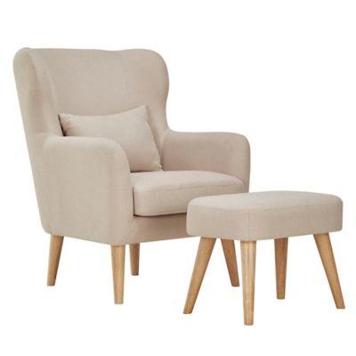 Verona Home Pariva Mid-Century Chair and Ottoman Set in Beige