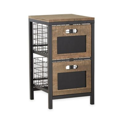 Verona Home Busby 2-Drawer Storage Tower in Black