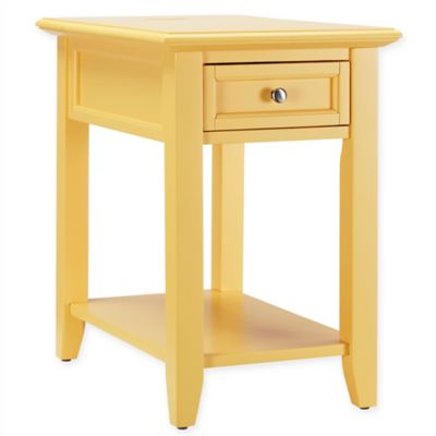 Verona Home Darbey Hidden Outlet Accent Table in Yellow