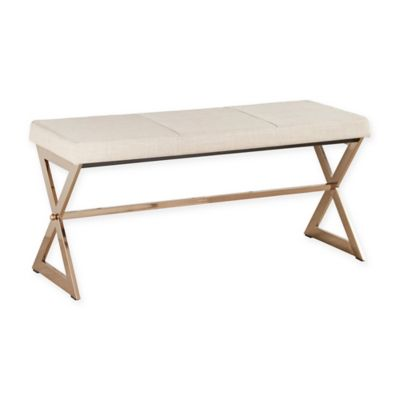 Verona Home Iriona Champagne Brass X-Base Bench in Black
