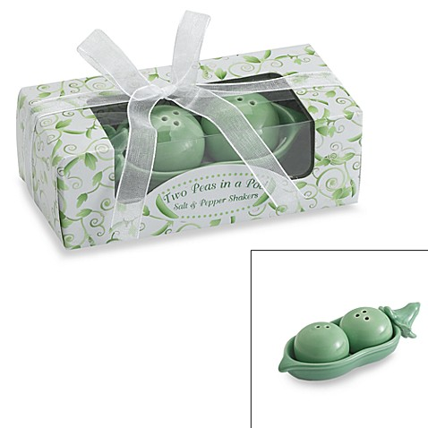 Kate Aspen® Two Peas in a Pod Ceramic Salt & Pepper Shakers in Ivy Gift Box