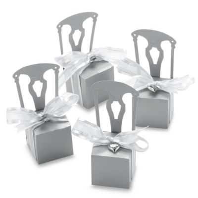 Kate Aspen® Miniature Silver Chair Favor Box with Heart Charm and Ribbon (Set of 12)