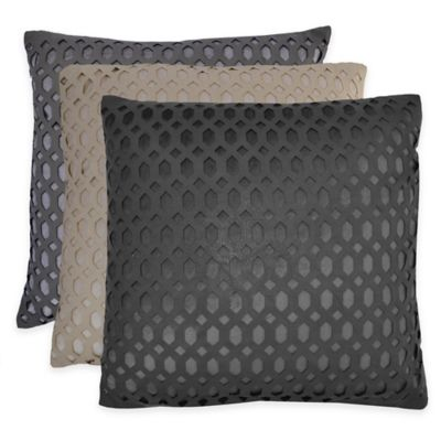 Callisto Home Cleo Square Throw Pillow in Charcoal