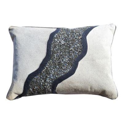 Callisto Home Sequin Accented Rezar Oblong Throw Pillow in Charcoal