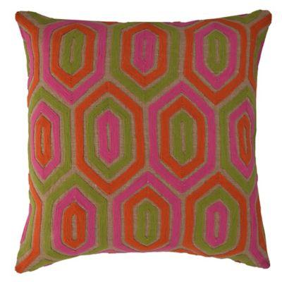 Callisto Home Soutache Embroidered Rachel Square Throw Pillow