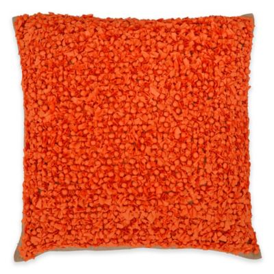 Callisto Home Fabric Ball Accented Boule Square Throw Pillow in Orange - Bed Bath & Beyond