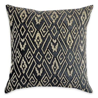 Callisto Home Geometric Gold Beaded Avanti Square Throw Pillow in Grey