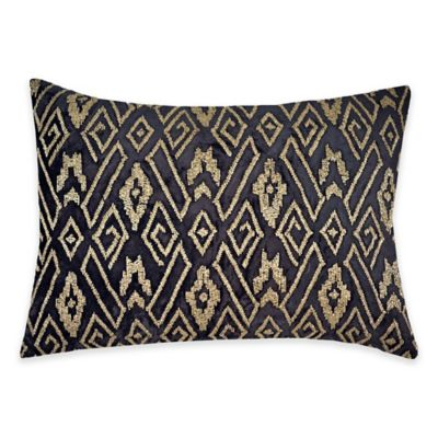 Callisto Home Gold Beaded Geometric Avanti Oblong Throw Pillow in Grey