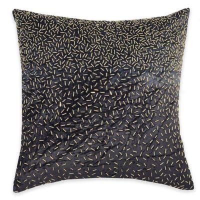 Callisto Home Gold Beaded Avanti Square Throw Pillow in Grey
