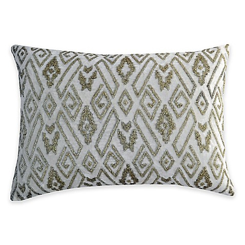 Silver Beaded Decorative Pillow : Buy Callisto Home Silver Beaded Eos Oblong Throw Pillow in Ivory from Bed Bath & Beyond
