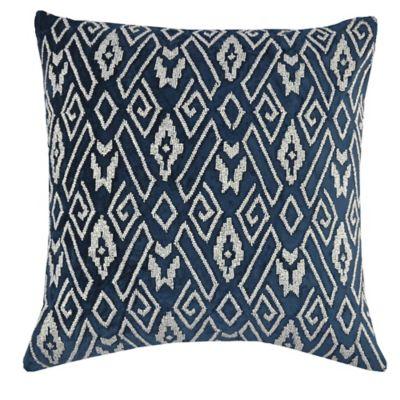 Callisto Home Silver Beaded Geometric Ibiza Square Throw Pillow in Navy