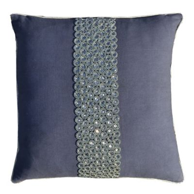 Callisto Home Silver Bead and Crystal Accented Rezar Square Throw Pillow