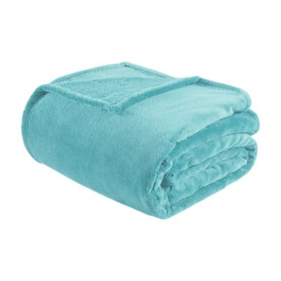 Intelligent Design Twin/Twin XL Microlight Plush Blanket in Aqua