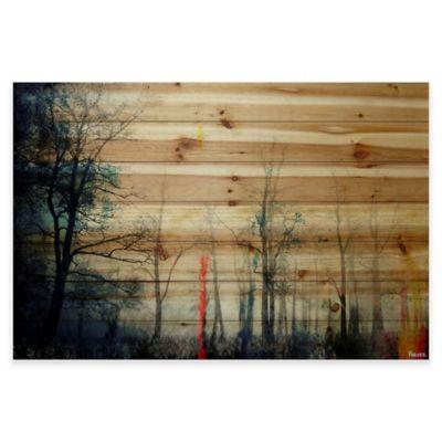 Parvez Taj Tall Tree Silhouette 36-Inch x 24-Inch Pine Wood Wall Art