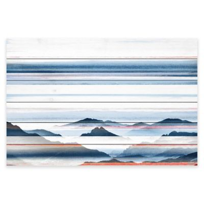 Parvez Taj Hidden Blue Mountains 36-Inch x 24-Inch Pine Wood Wall Art