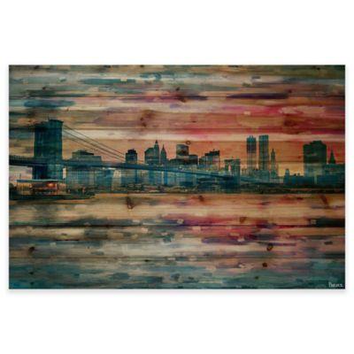 Parvez Taj 45-Inch x 30-Inch Bridge At Dusk Pine Wood Wall Art