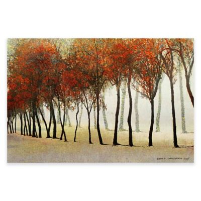 Marmont Hill Row of Trees in Red 30-Inch x 20-Inch Canvas Wall Art