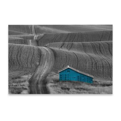 Marmont Hill 30-Inch x 20-Inch Blue Barn on a Country Road Canvas Wall Art