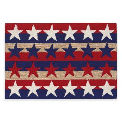 Trans-Ocean Frontporch Stars & Stripes Americana 1-Foot 7-Inch x 2-Foot 5-Inch Indoor/Outdoor Rug