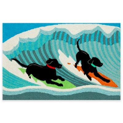Trans-Ocean Front Porch Surfing Dogs 1-Foot 7-Inch x 2-Foot 5-Inch Indoor/Outdoor Rug