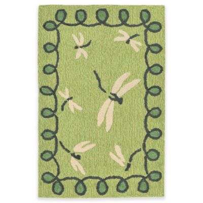 Trans-Ocean 2-Foot x 3-Foot Napa Dragonfly Indoor/Outdoor Accent Rug in Green