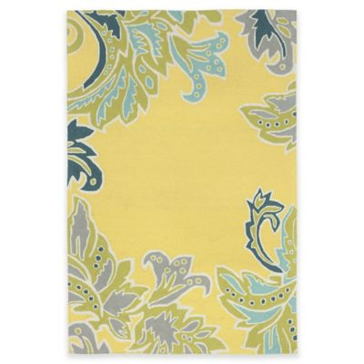 Trans-Ocean Ravella Ornamental Leaf 3-Foot 6-Inch x 5-Foot 6-Inch Indoor/Outdoor Rug in Yellow