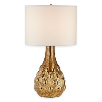 Pacific Coast® Lighting Bumble Vase Table Lamp in Gold with Cotton Shade