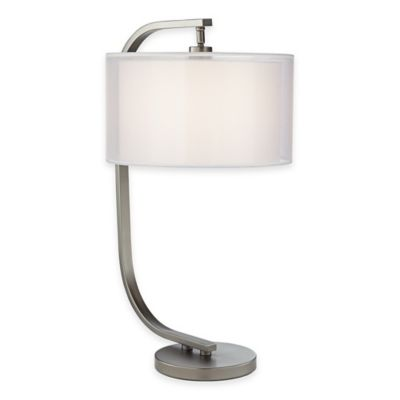 Pacific Coast® Lighting Semi-Orbit Table Lamp with in Gunmetal with White Shade
