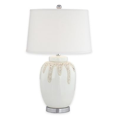 Pacific Coast® Lighting Kathy Ireland Home Volcanic Glaze Table Lamp in Natural with Drum Shade