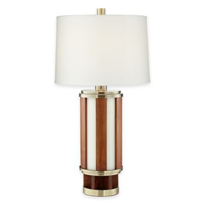Pacific Coast® Lighting Willtern Table Lamp in Walnut with Cotton Shade