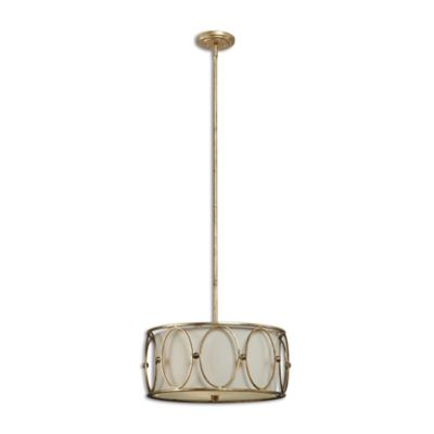 Uttermost Ovala 3-Light Pendant in Antique Gold with Linen Shade