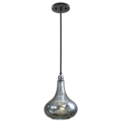 Uttermost 1-Light Mini Pendant with Blue/Green Mercury Glass Shade