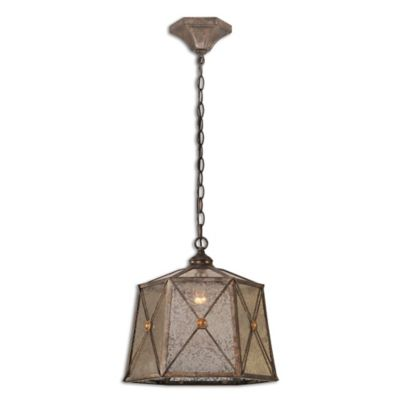 Uttermost Basiliano 1-Light Aged Mercury Glass Pendant in Antiqued Silver