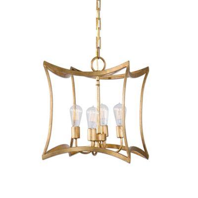 Uttermost Dore 4-Light Lantern Pendant in Gold Leaf