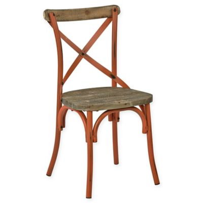 Office Star® Products Somerset X-Back Antique Metal Dining Chair in Orange/Walnut