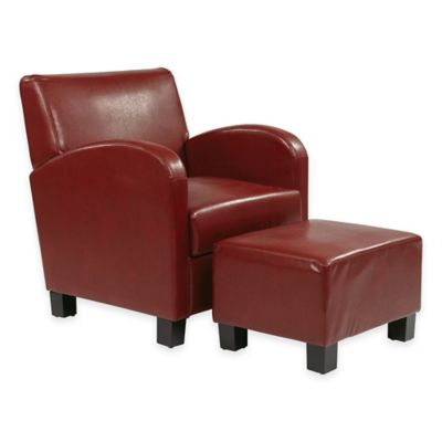 Metro Collection Faux Leather Club Chair and Ottoman Set in Crimson Red