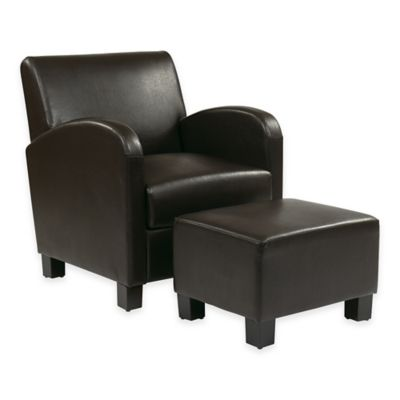 Metro Collection Faux Leather Club Chair and Ottoman Set in Espresso
