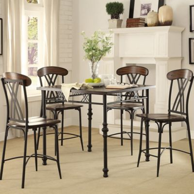 Verona Home Creek Bend 5-Piece Counter Height Dining Set in Brown
