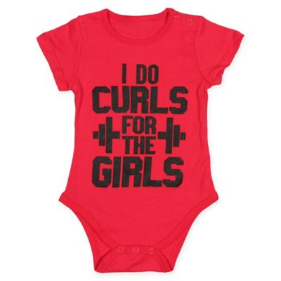 "FREEZE Size 0-3M ""Curls for the Girls"" Bodysuit in Red"