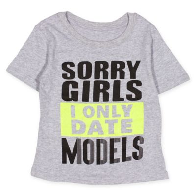 """FREEZE Size 18M """"I Only Date Models"""" Shirt in Grey"""