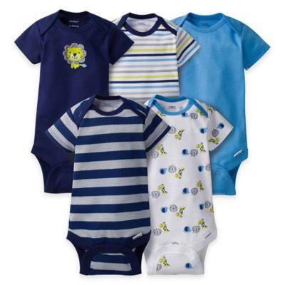 Gerber® ONESIES® Size 3-6M 5-Pack Lion Short Sleeve Bodysuits in Blue/Navy