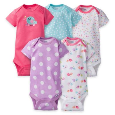 Gerber® ONESIES® Size 6-9M 5-Pack Bird Short Sleeve Bodysuits in Pink