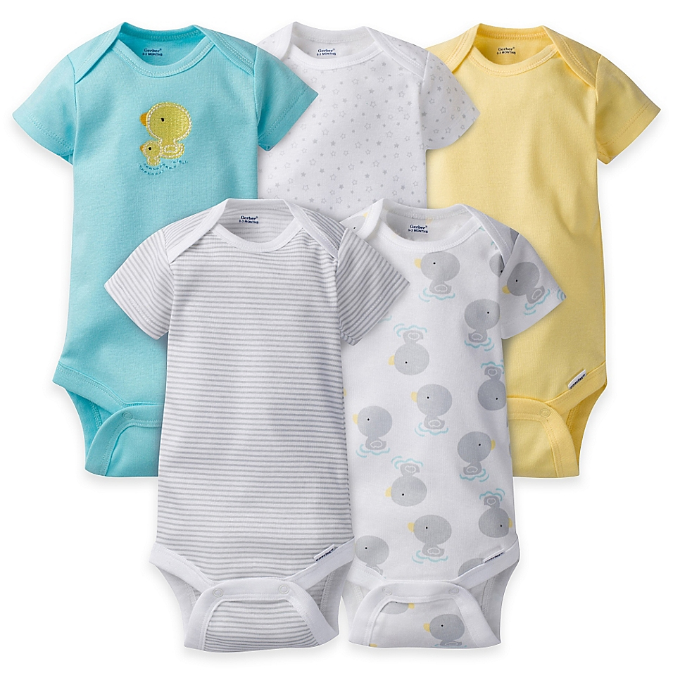 Gerber® ONESIES® 5-Pack Duck Short Sleeve Bodysuits in Aqua/Yellow - buybuyBaby.com