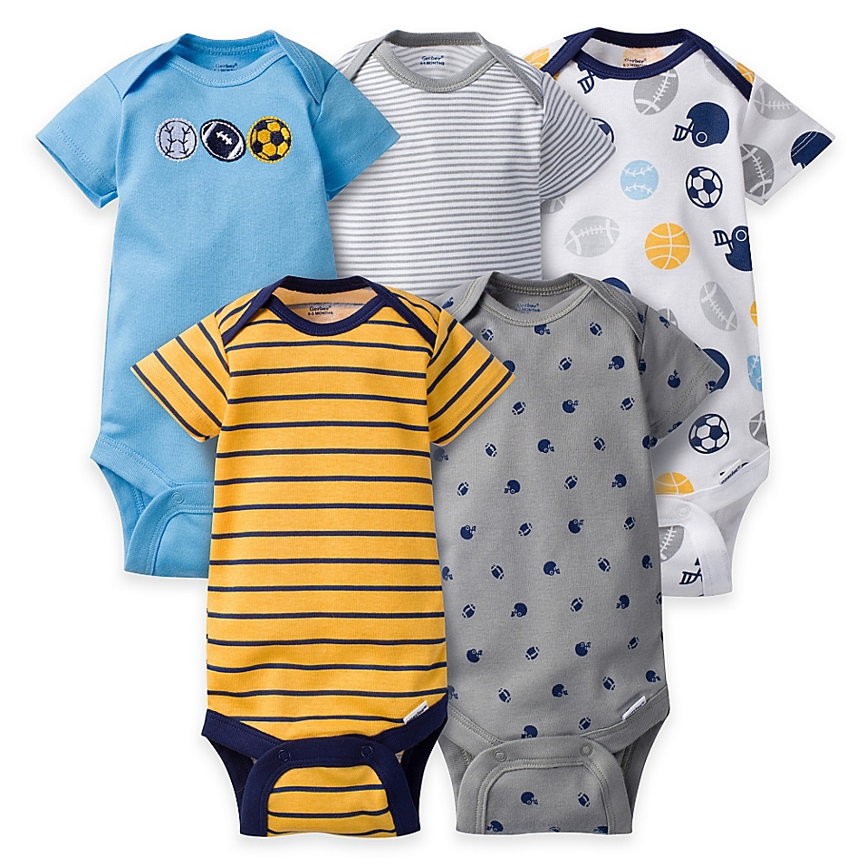 Gerber® ONESIES® 5-Pack Sports Short Sleeve Bodysuits in Blue/Gold - buybuyBaby.com