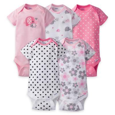 Gerber® ONESIES® Size 6-9M 5-Pack Elephant Short Sleeve Bodysuits in Pink/Grey