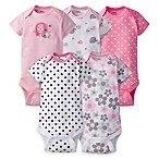 Gerber® ONESIES® Size 0-3M 5-Pack Elephant Short Sleeve Bodysuits in Pink/Grey