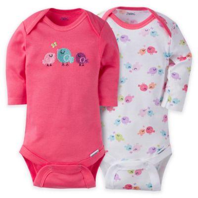 Gerber® ONESIES® Brand Size NB Bird-Themed Long Sleeve Bodysuit in Pink (Set of 2)
