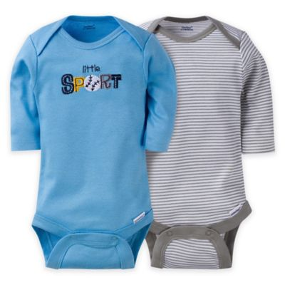 Gerber® ONESIES® Brand Size NB Baby Boy Sport Long-Sleeve Bodysuit (Set of 2)