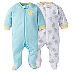 Gerber® Size 0-3M 2-Pack Duck Zip-Front Footies in Aqua/Yellow